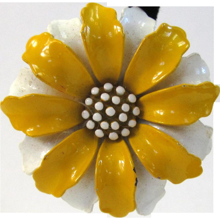 Circa 1960s Trifari Yellow and Cream Floral Earrings