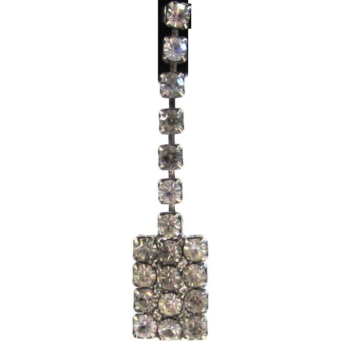Rectangular Silver-Tone Rhinestone Drop Pierced Earrings