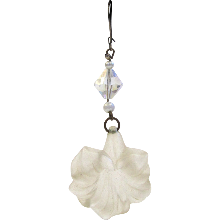 Frosted Plastic Hibiscus Drop Pierced Earrings