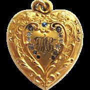 S.O. Bigney Heart Shaped Rhinestone Locket/Pendant/Necklace
