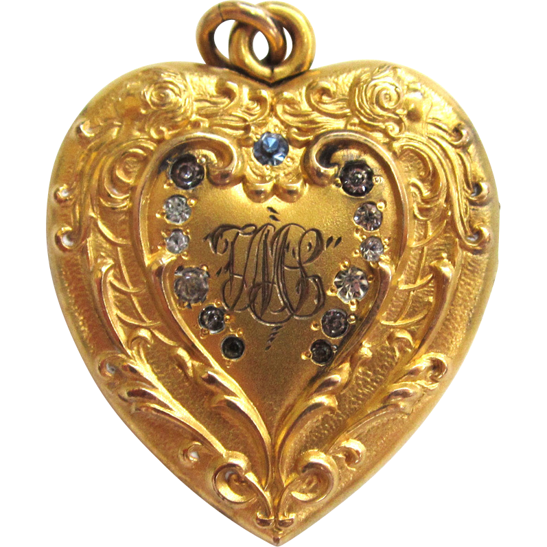 S.O. Bigney Heart Shaped Rhinestone Locket/Pendant/Necklace