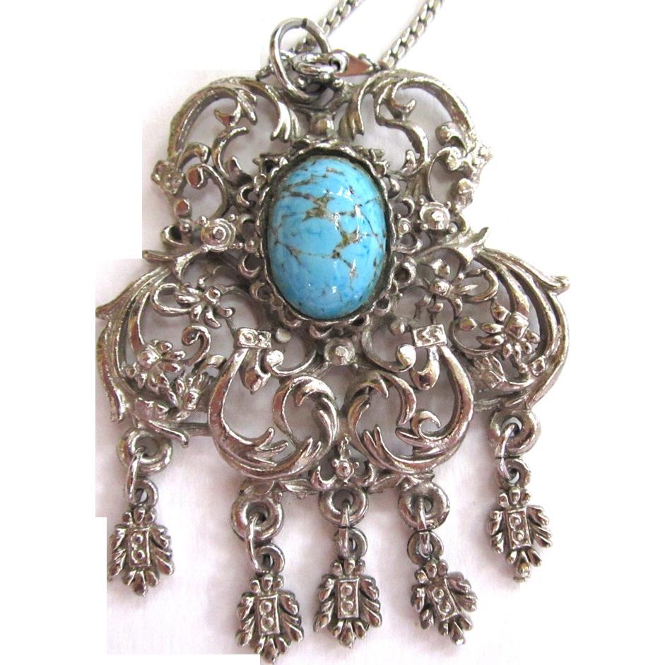 Faux Turquoise Silver-Tone Pendant