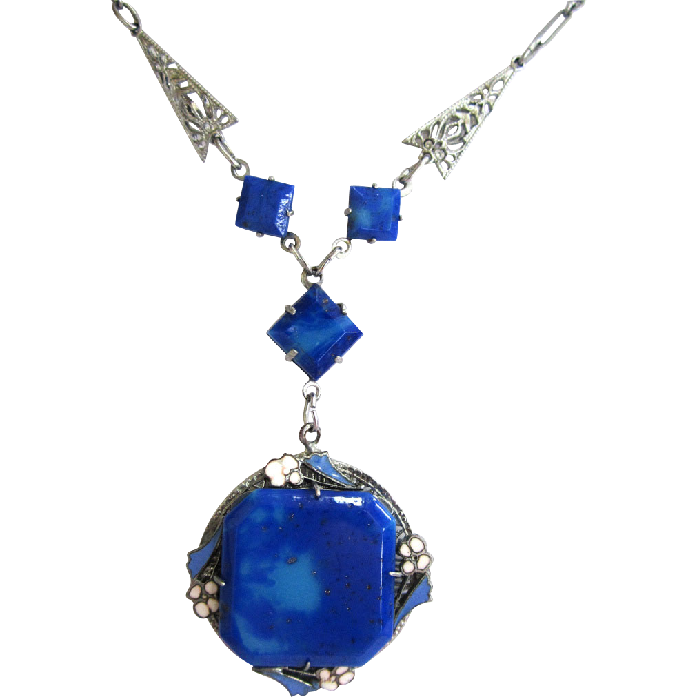 Art Deco Blue Glass Enamel Filigree Pendant/Necklace