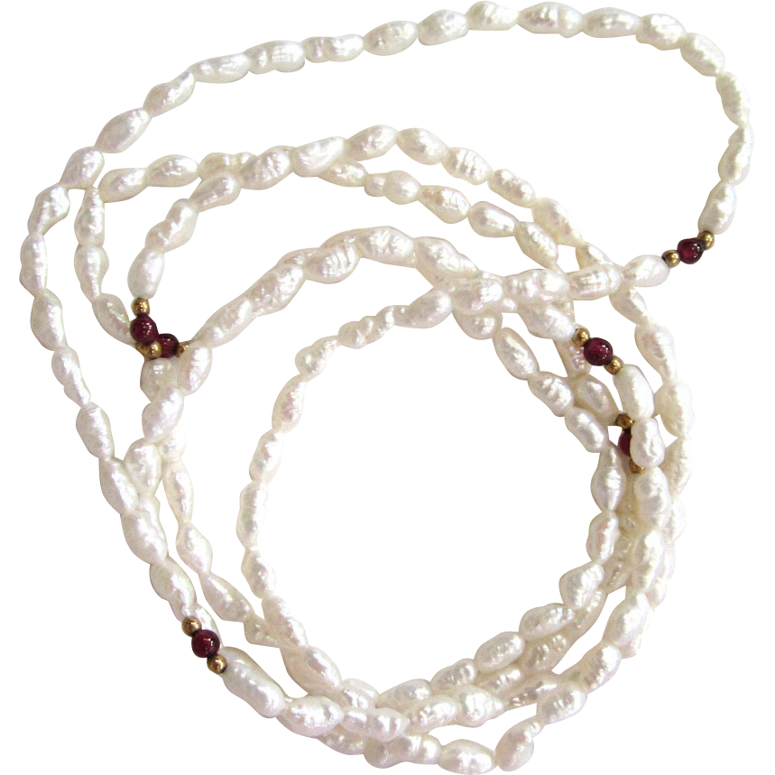 Rice Pearl and Garnet Necklace