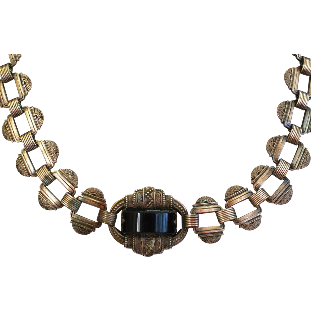 Art Deco Sterling Silver Onyx Necklace