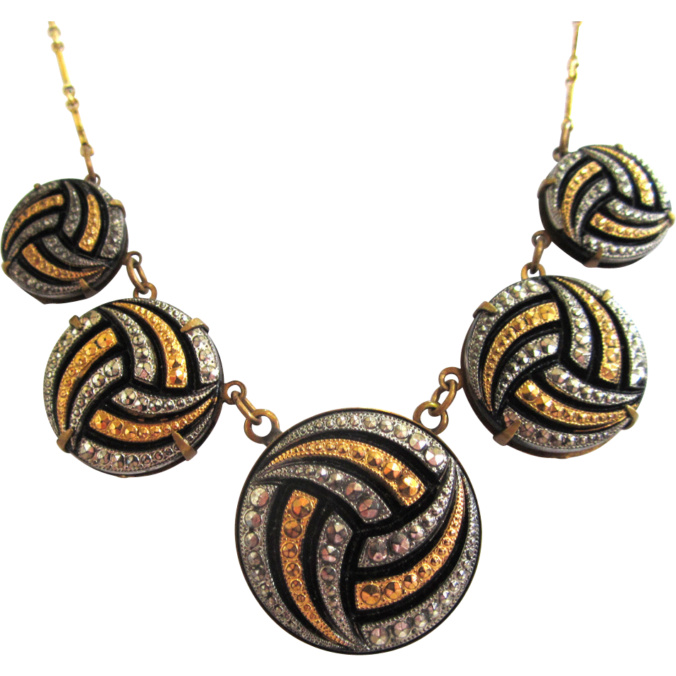 Pididdly Links Gold-Tone and Silver-tone Marcasite Necklace