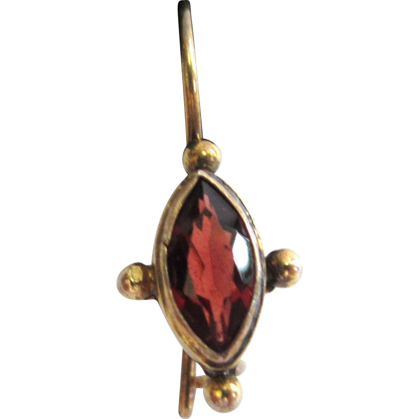 CMLO Sterling Silver Gilt Garnet Earrings