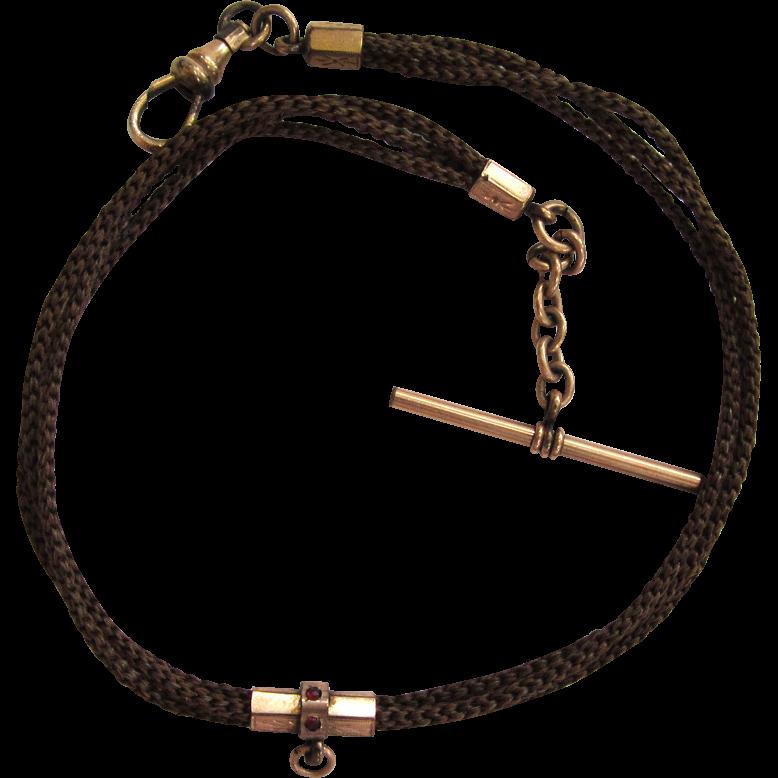 Victorian Gold-Filled Hair-work Watch Chain