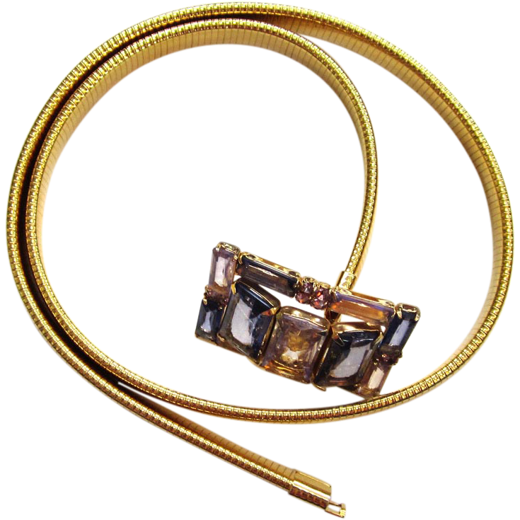 Slinky Gold-tone Glass Buckle Belt