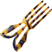 Art Deco Faux Tortoise Shell Enamel and Rhinestone Hair Comb/Fork