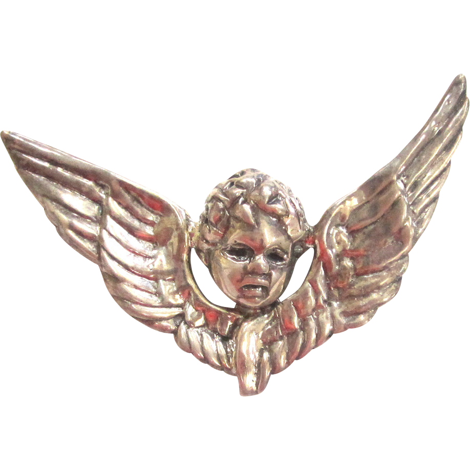Silver-tone Cherub and Wings Brooch/Pin