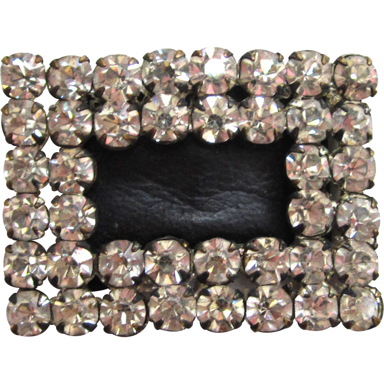 Rhinestone and Black Leather Shoe Buckles