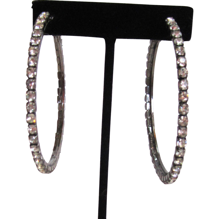 Large Silver-tone Rhinestone Hoop Earrings