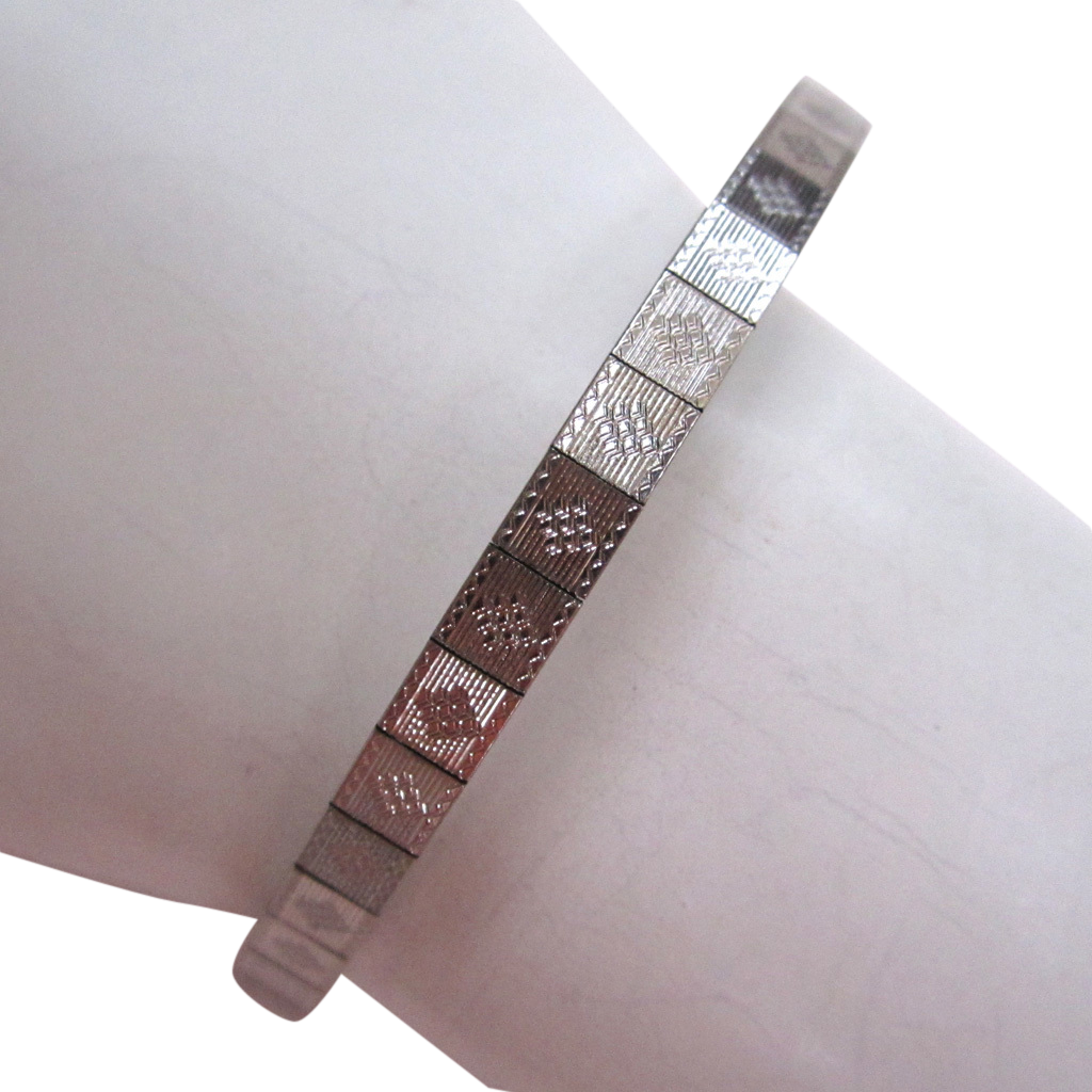 Art Deco Simmons White Gold-Filled Mesh Bracelet