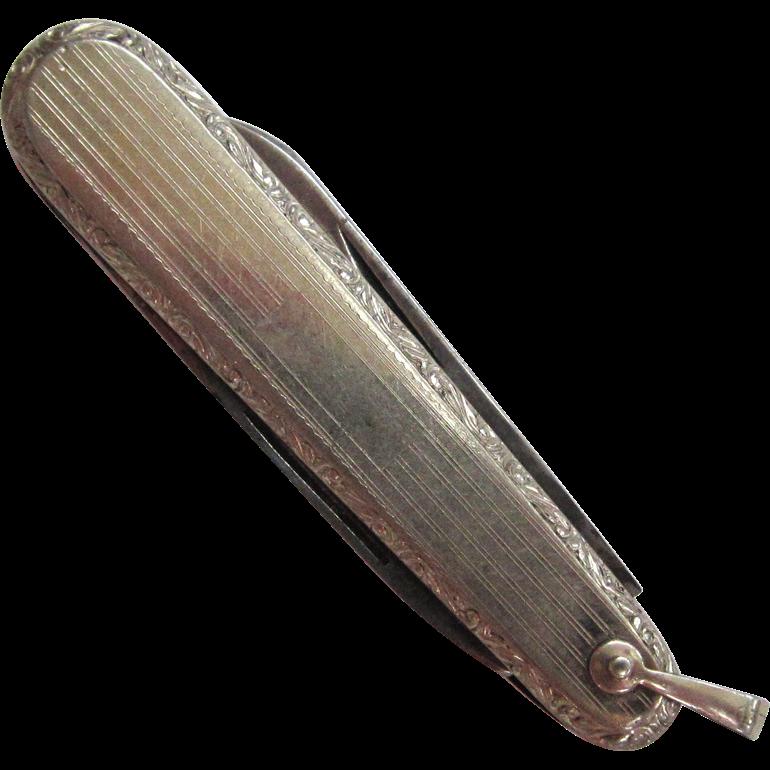 White Gold-Filled Pocket Knife