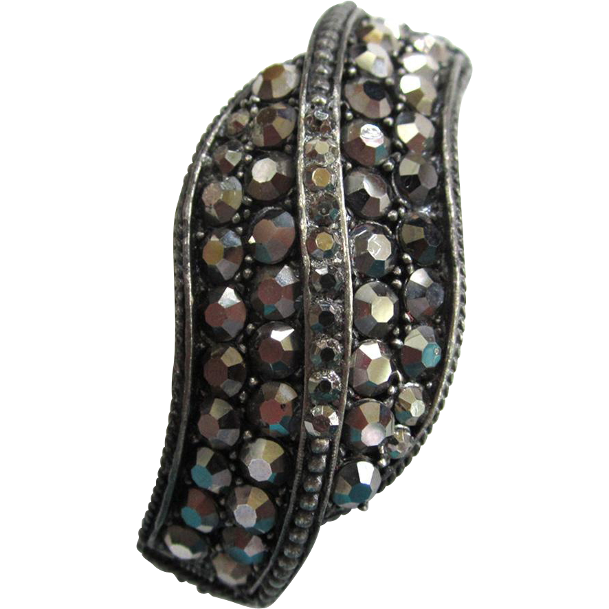 Weiss Marcasite Crossover Bangle Bracelet