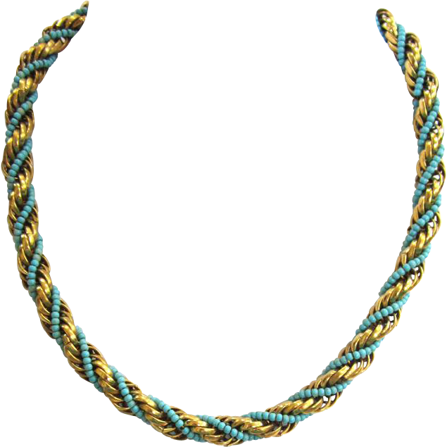 Twisted Gold-Tone Metal and Blue Bead Choker