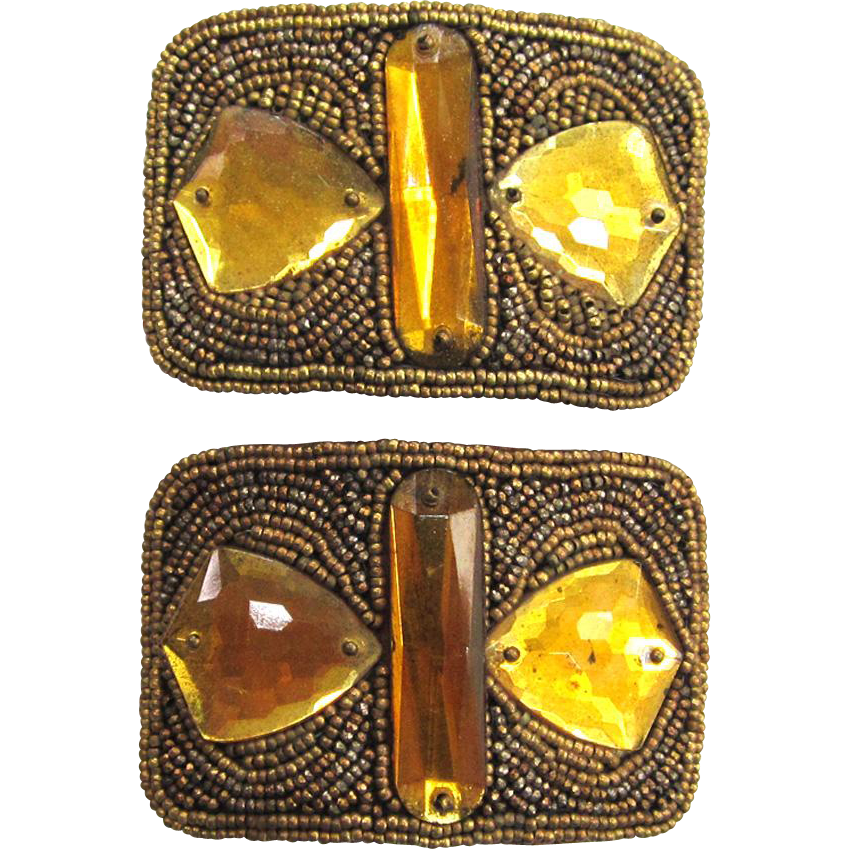 French Gold Glass Seed Bead Shoe Buckles