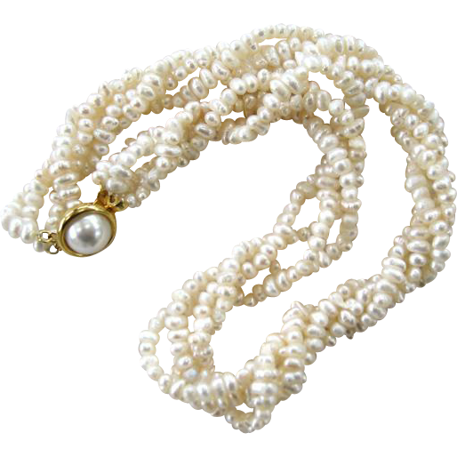 Twisted Four Strand Rice Pearl Choker/Necklace with Faux Mabe Pearl Clasp
