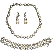 Ora Rhinestone Parure: Necklace/Bracelet/Earrings