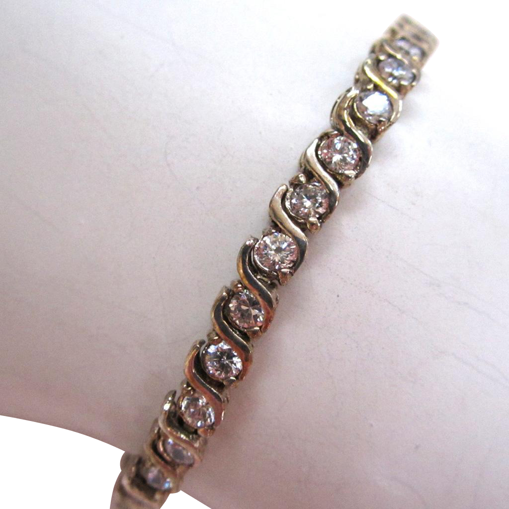 Sterling Silver Rhinestone Line Bracelet
