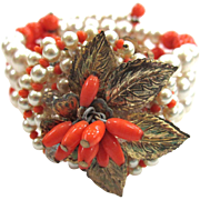 Wired Faux Pearl and Faux Coral Golden Leaves Bracelet