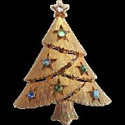 Gold-Tone Christmas Tree Brooch/Pin