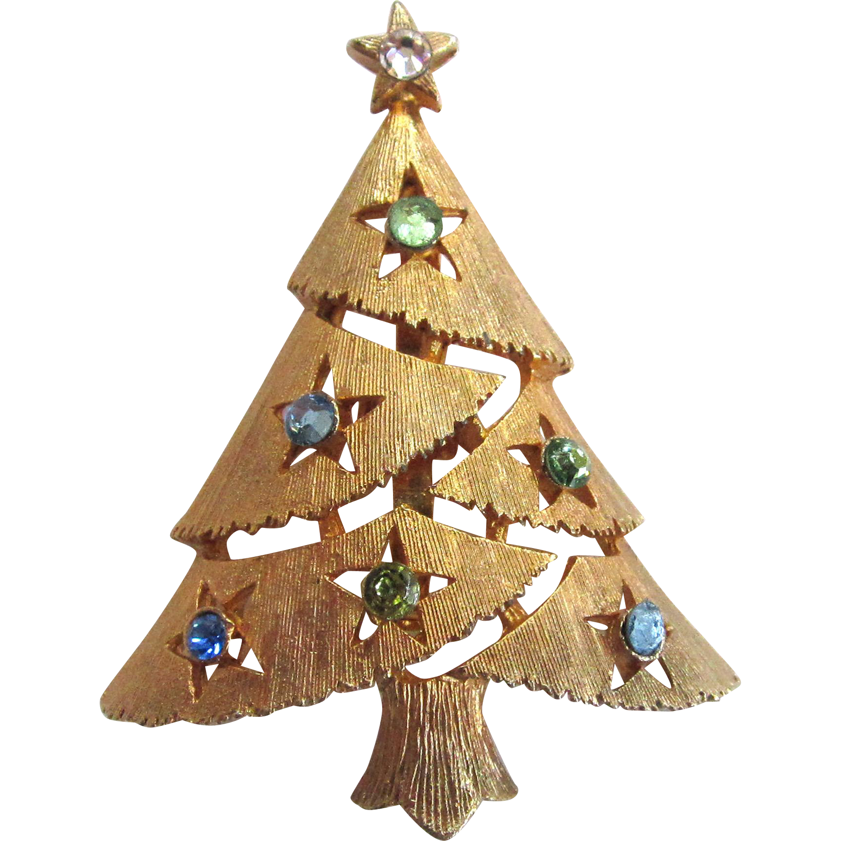 Gold-Tone Christmas Tree Brooch/Pin