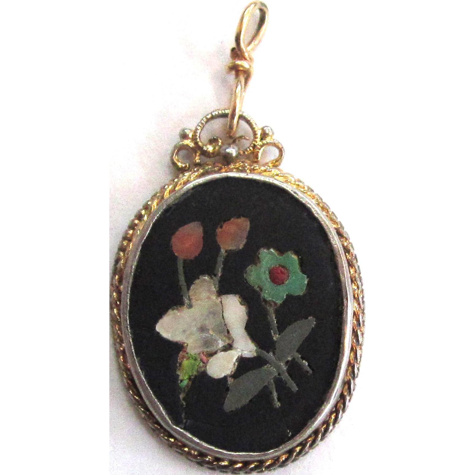 Pietra Dura Gold-tone and Silver-Tone Pendant