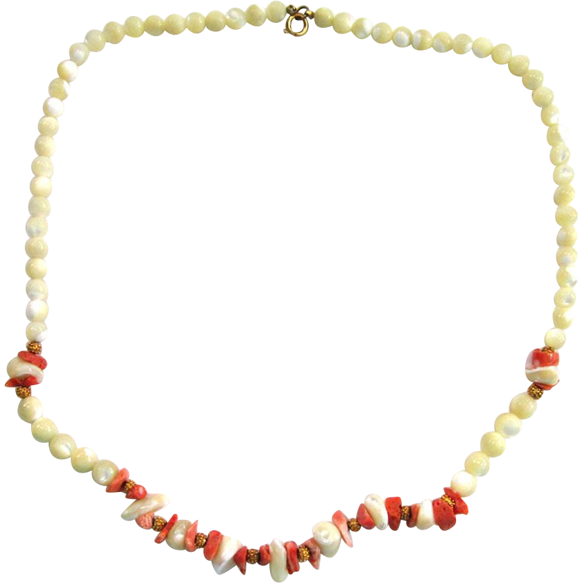 Gold-Tone Glass and Coral Bead Necklace