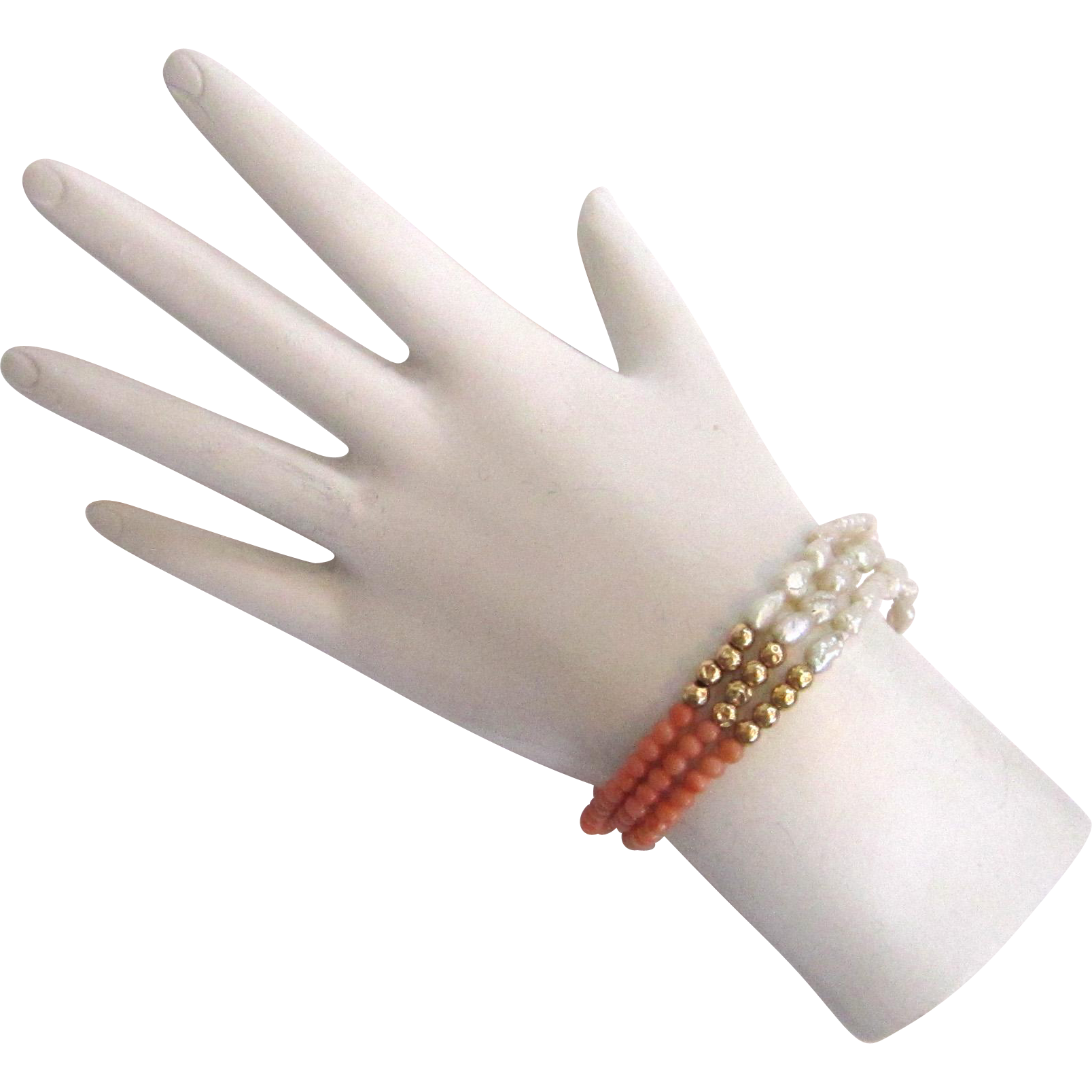 14k Yellow Gold Angel Skin Coral and Rice Pearl Triple-strand Bracelet