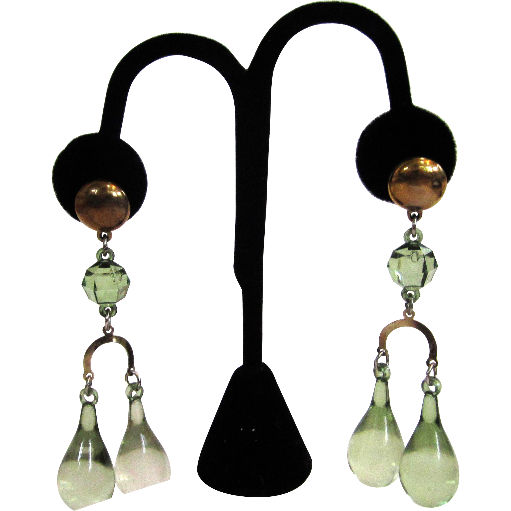 Circa 1930s Pale Green Lucite Teardrop Pierced Earrings