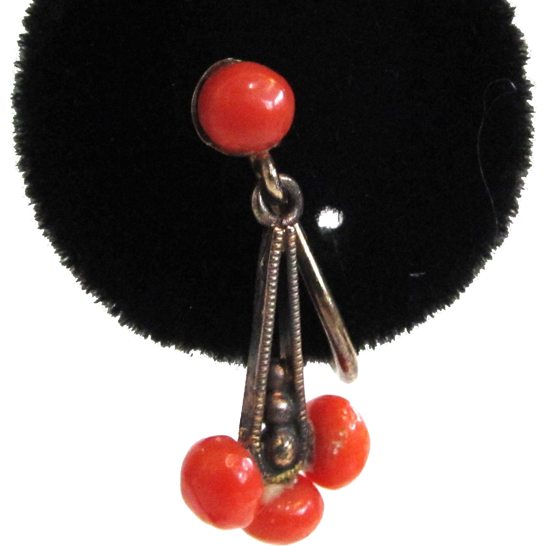 800 Silver Victorian Coral Earrings