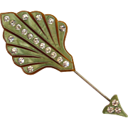 Pale Green Celluloid Rhinestone Hat Pin/Stick pin