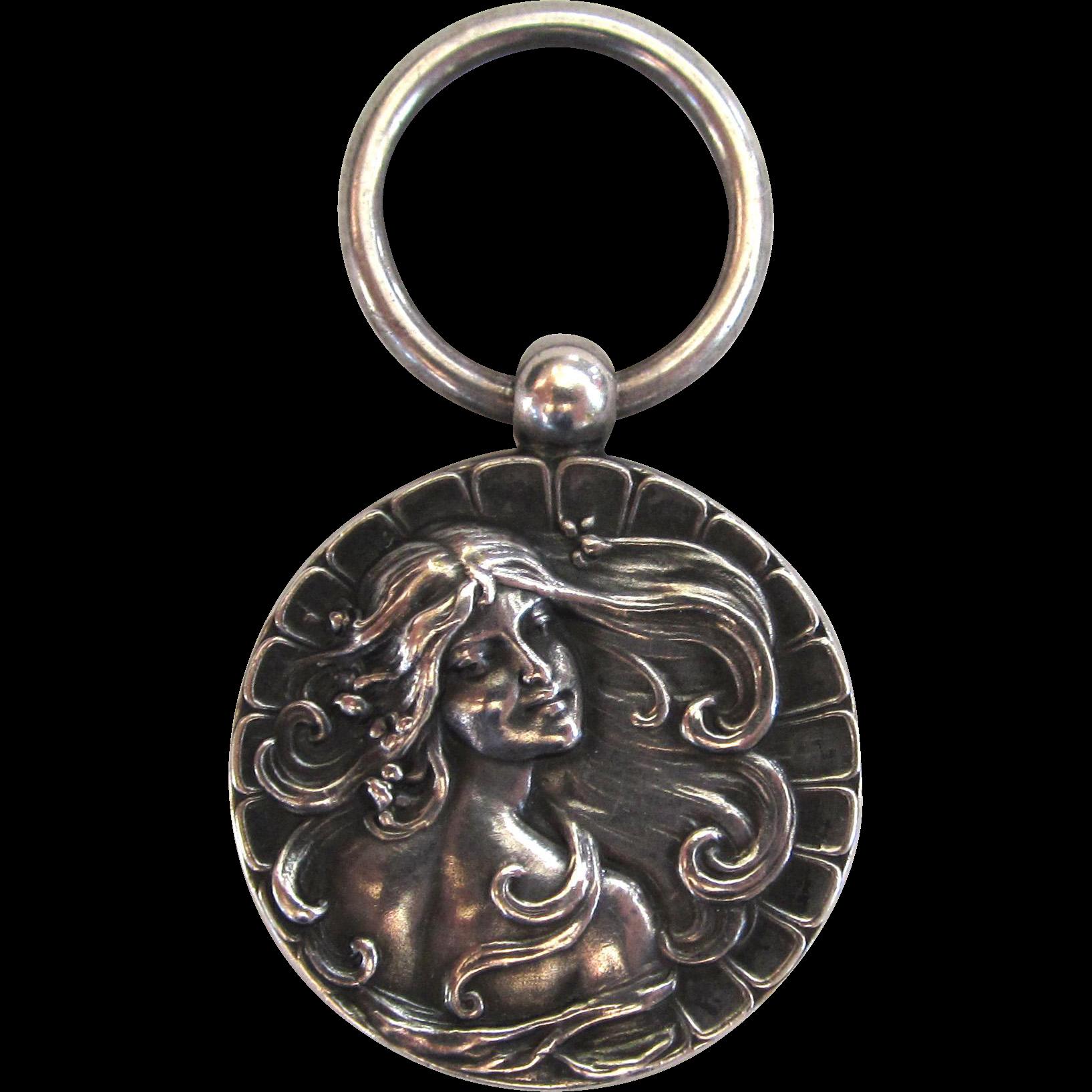 Art Nouveau Sterling Silver Lady Chatelaine Piece