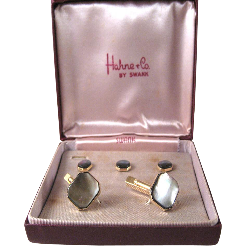 Hahne & Co Swank Mother-of-Pearl Cufflinks and Buttons Set