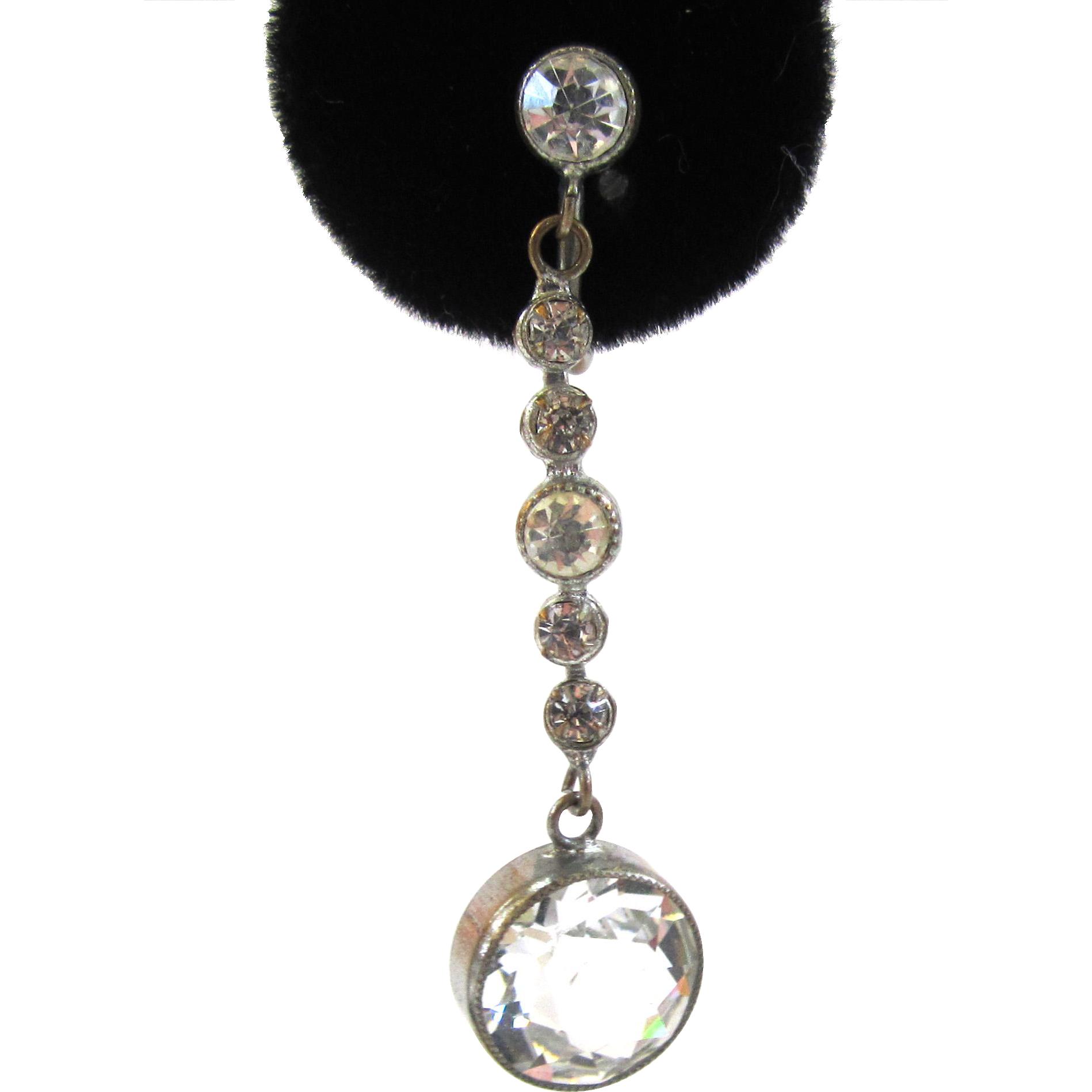 Art Deco Czechoslovakian Cut Crystal Earrings