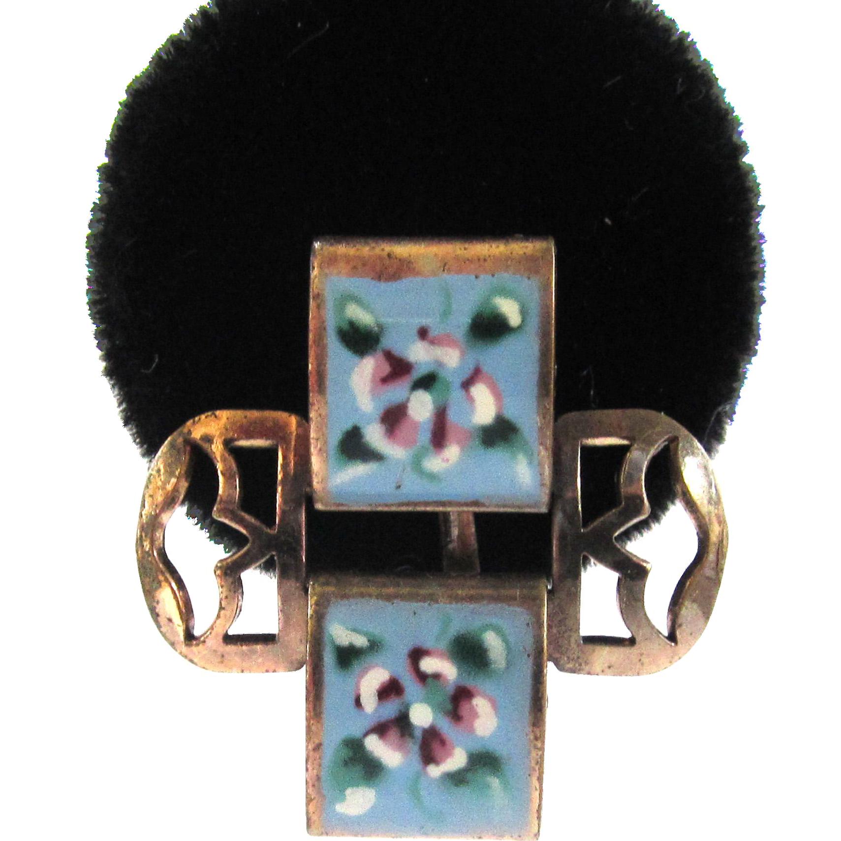 Enamel Floral Openwork Earrings