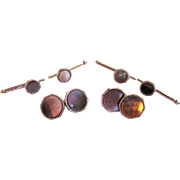 Art Deco Mother-of-Pearl Cuff Link and Shirt Button Set