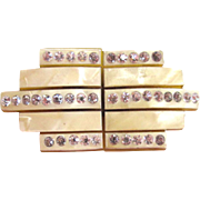 Art Deco Cream Celluloid Rhinestone Belt Buckle
