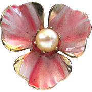 Pink Enamel Freshwater Pearl Enamel Pansy Earrings