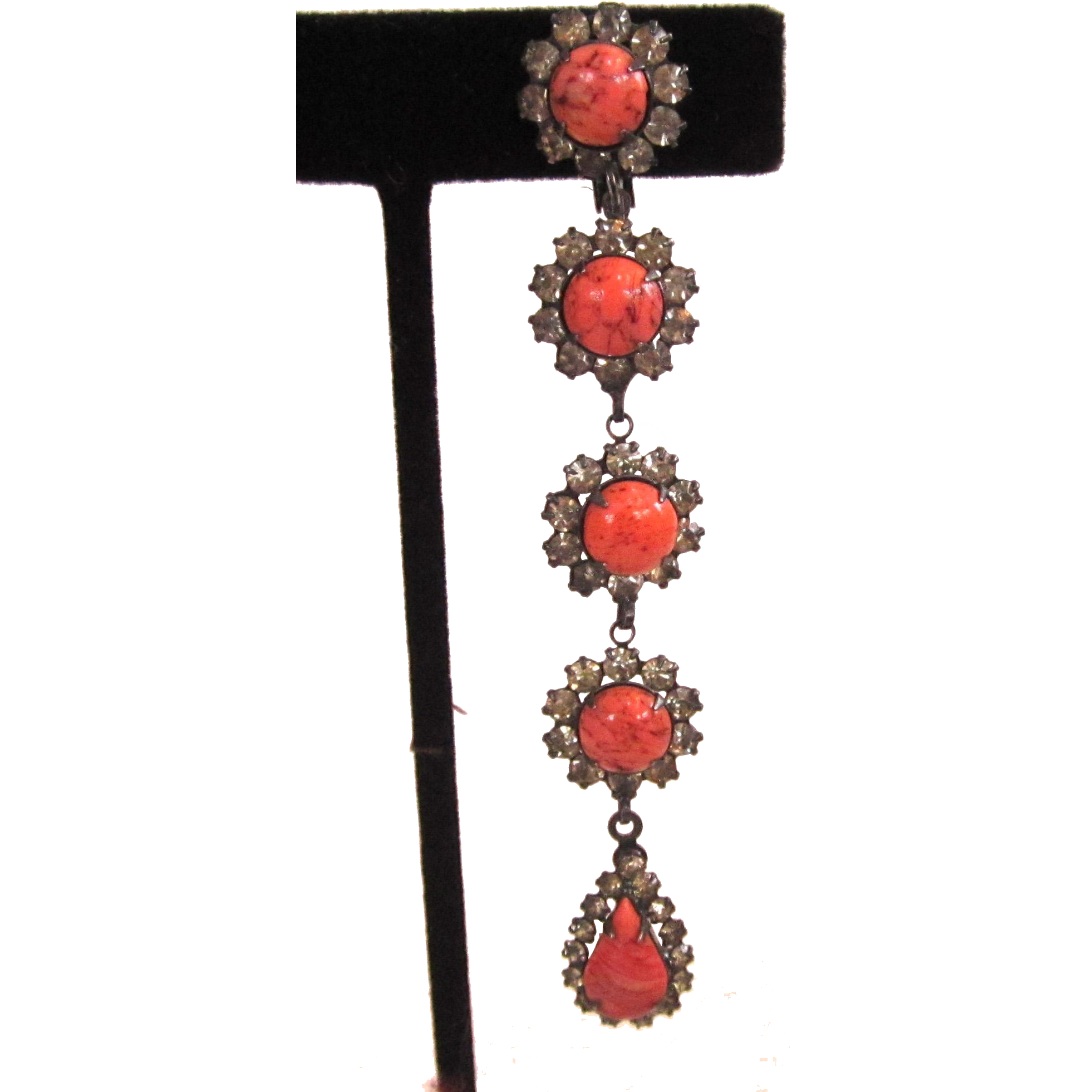 Faux Coral Rhinestone Shoulder Duster Earrings