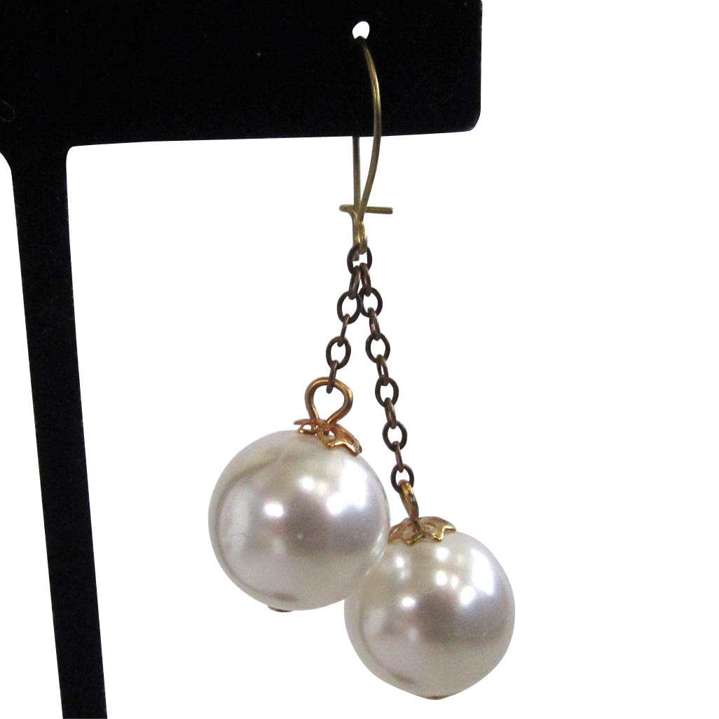 Faux Pearl Dangle Earrings