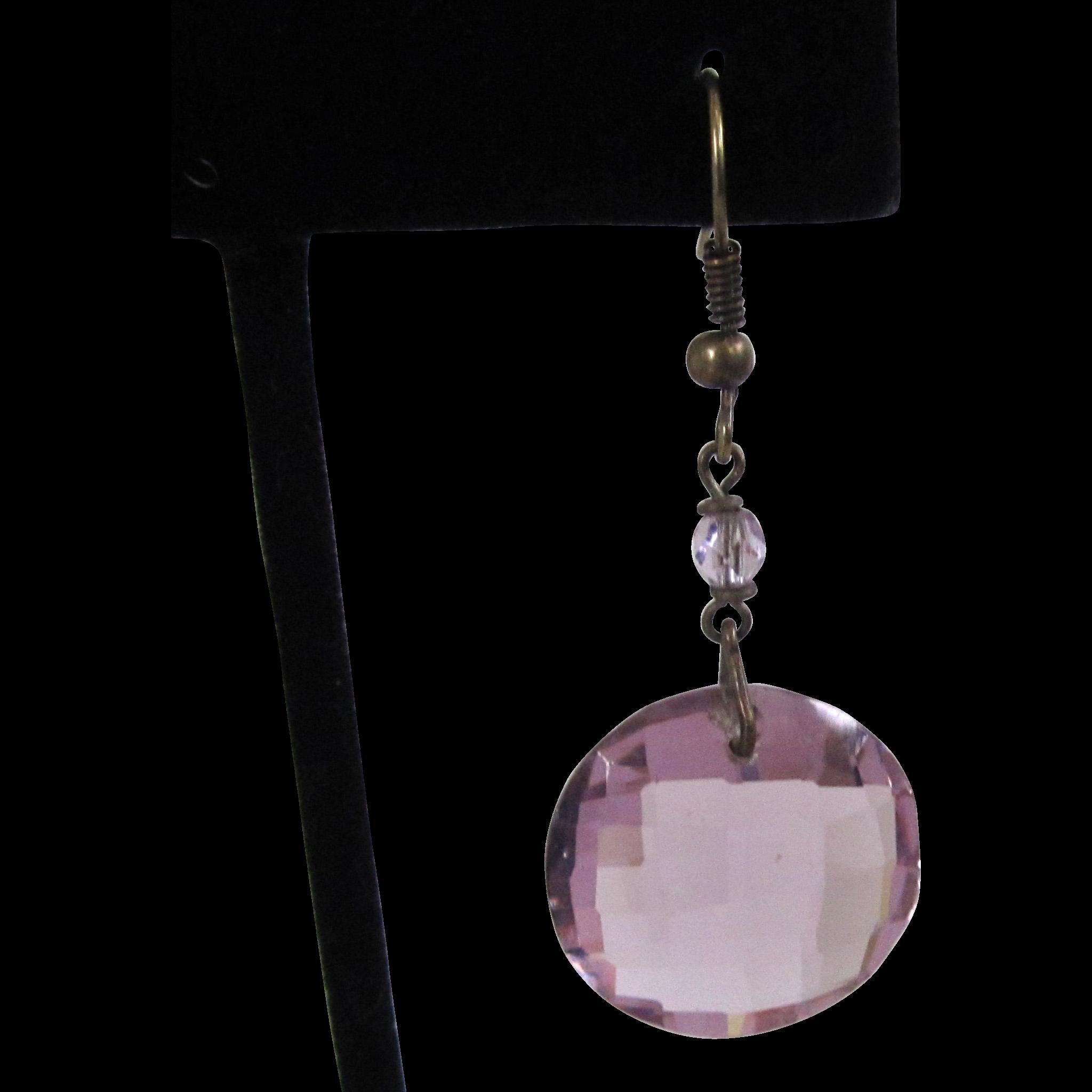 Art Deco Czechoslovakian Lavender Cut Glass Earrings