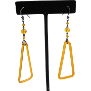 Art Deco Yellow Glass Triangle Dangle Earrings