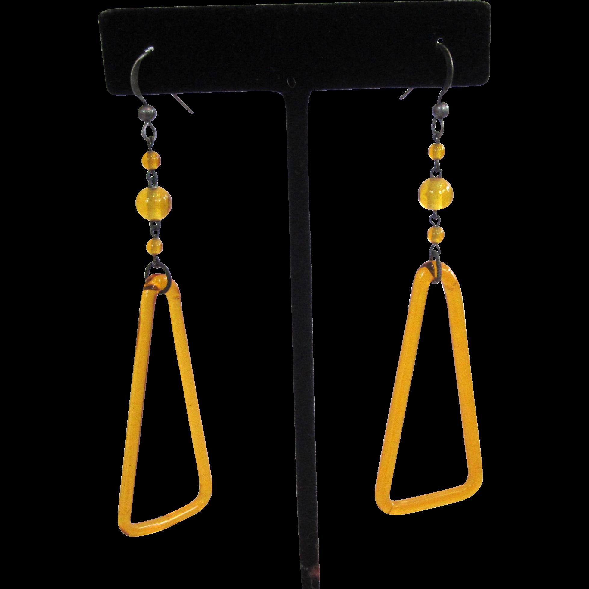 Art Deco Yellow Glass Triangle Dangle Earrings