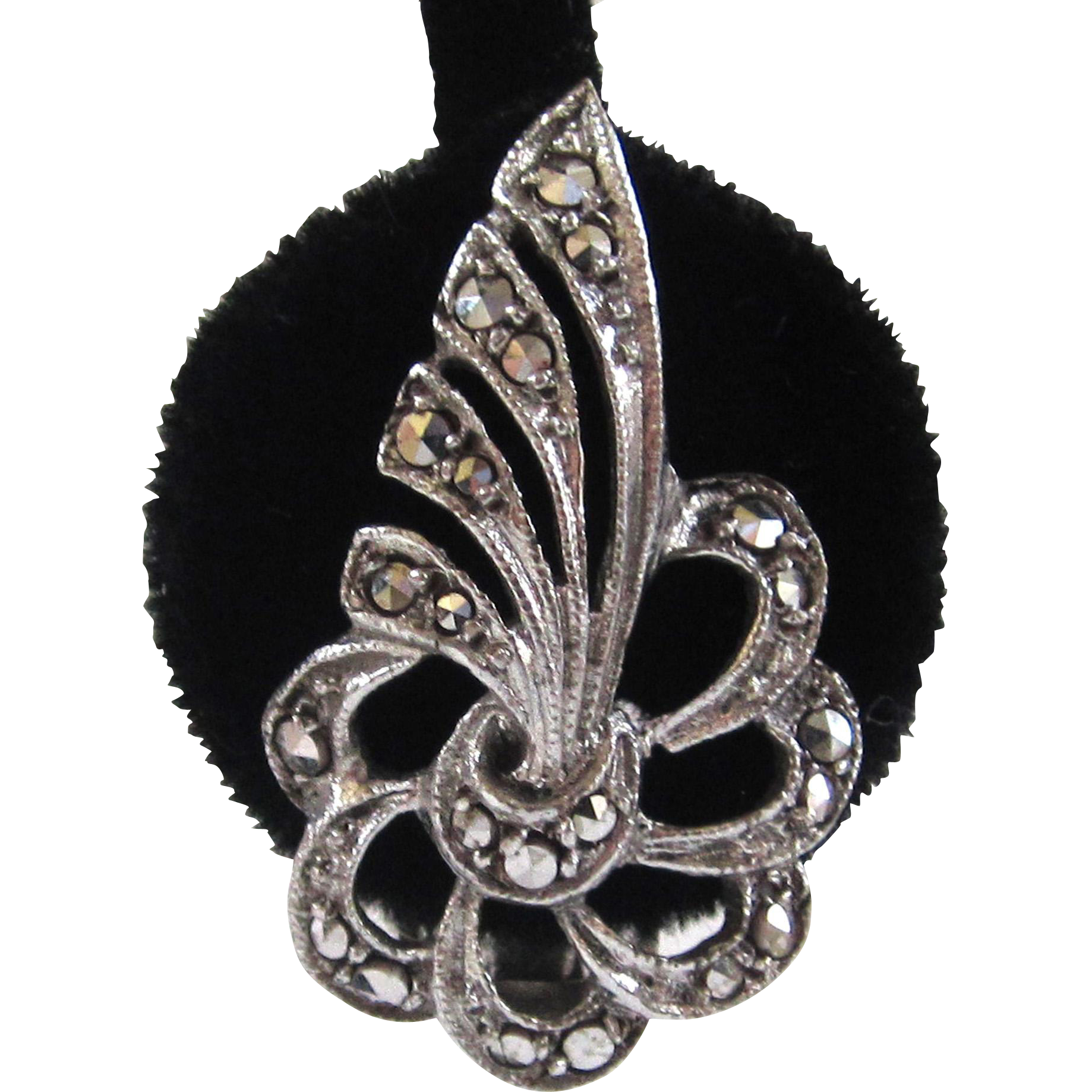 Silver-tone Marcasite Floral Bow Earrings