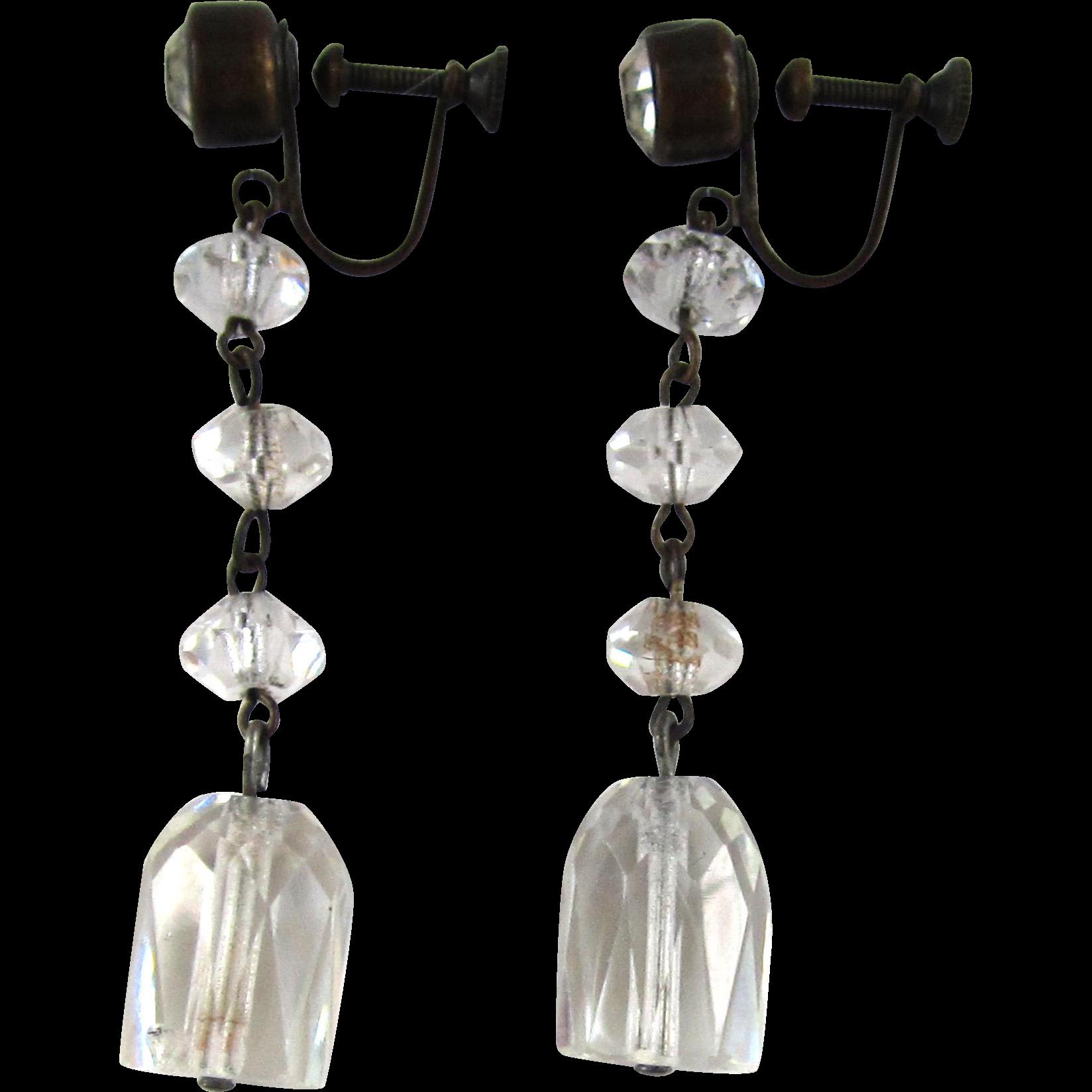 Art Deco Triple Crystal Cut Glass Earrings