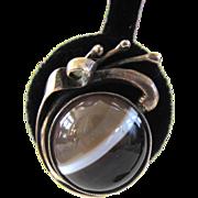 Scottish Sterling Silver Banded Agate Earrings
