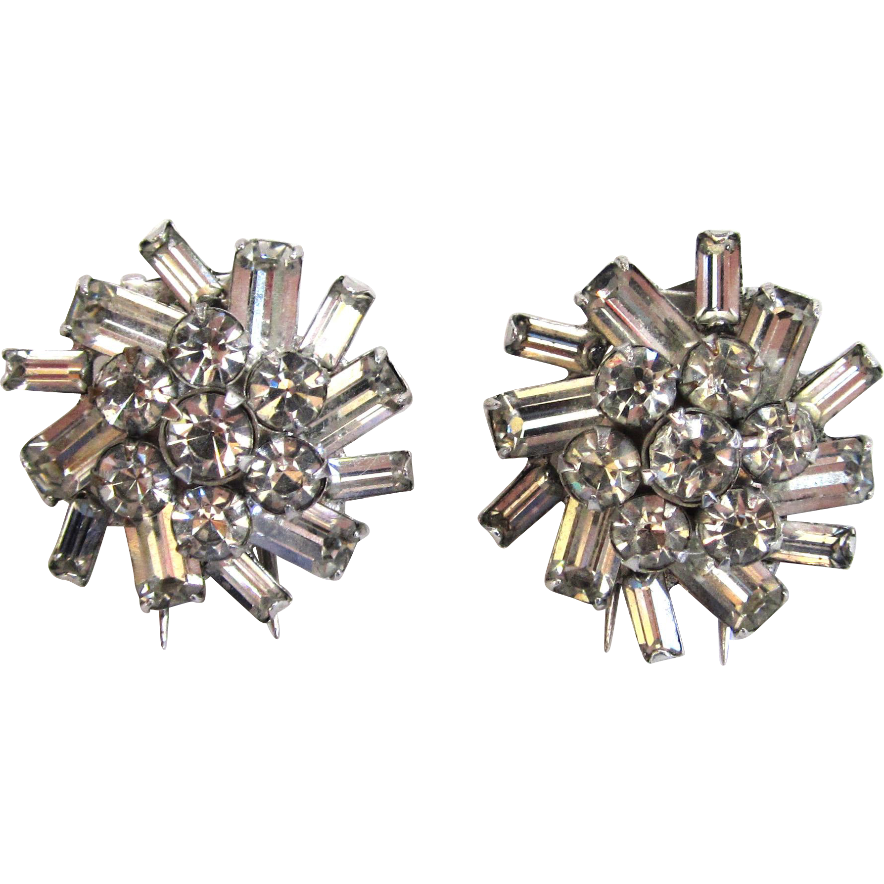 Silver-tone Floral Rhinestone Fur Clips